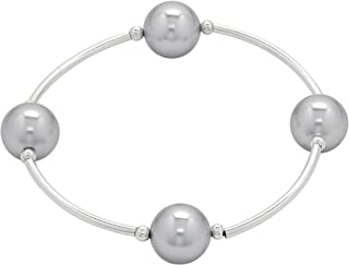 Count Your Blessings Bracelet, 12mm Silver Swarovski Pearl (4 Bead)