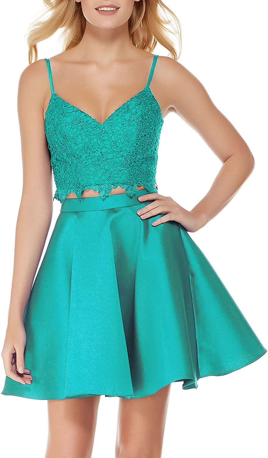 Spaghetti Straps 2 Piece Homecoming Prom Dresses Short for Juniors with Pockets