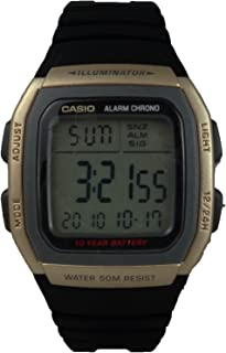 Illuminator Watch for Boys by Casio, Digital, Resin, Black, W-96H-9AV