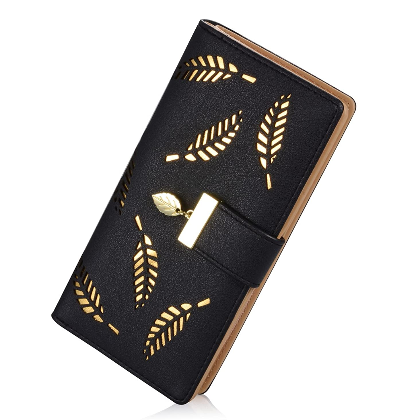 Wallets for Women, Long Leather Checkbook Card Holder Purse Zipper Buckle Elegant Clutch Ladies Wallet Coin Purse