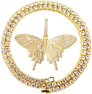 Hip Hop Iced Out Gold Diamond Micro Paved Vivid Butterfly Pendant CZ Tennis Chain Necklaces