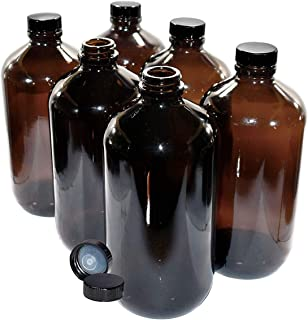 (6 Pack) 32 oz. Amber Boston Round with Black Poly Cone Cap