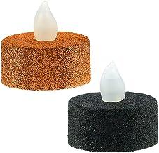 أمسكان | ديكور المنزل | أضواء شاي LED لامعة | 4 قطع في العبوة | مقاس 1.9 سم × 3.8 سم | أسود وبرتقالي