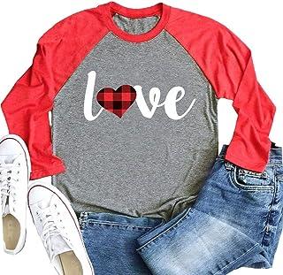 HRIUYI Valentine's Day Baseball T Shirt for Women Funny Plaid Love Heart Graphic 3/4 Sleeve Raglan Tees Tops Blouse