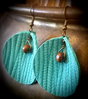 Pinched Turquoise Circle Leather Earrings