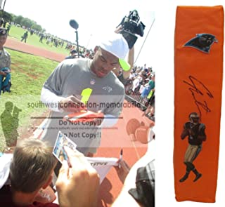 Cam Newton Carolina Panthers Autographed Hand Signed Full Size Photo Football Touchdown End Zone Pylon with Exact Proof Photo of Signing and COA- Auburn University Tigers