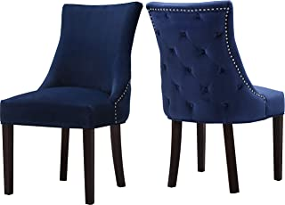 """Meridian Furniture 774Navy-C Hannah Collection Modern   Contemporary Velvet Upholstered Dining Chair with Wood Legs, Button Tufting, Nailhead Trim, Set of 2, 20.5"""" W x 25"""" D x 38.5"""" H, Navy"""