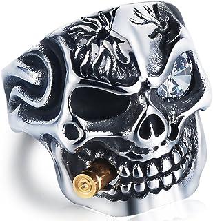 DALARAN Stainless Steel Rings for Men Cigar Skull Ring Gothic Band Red/Clear Eye