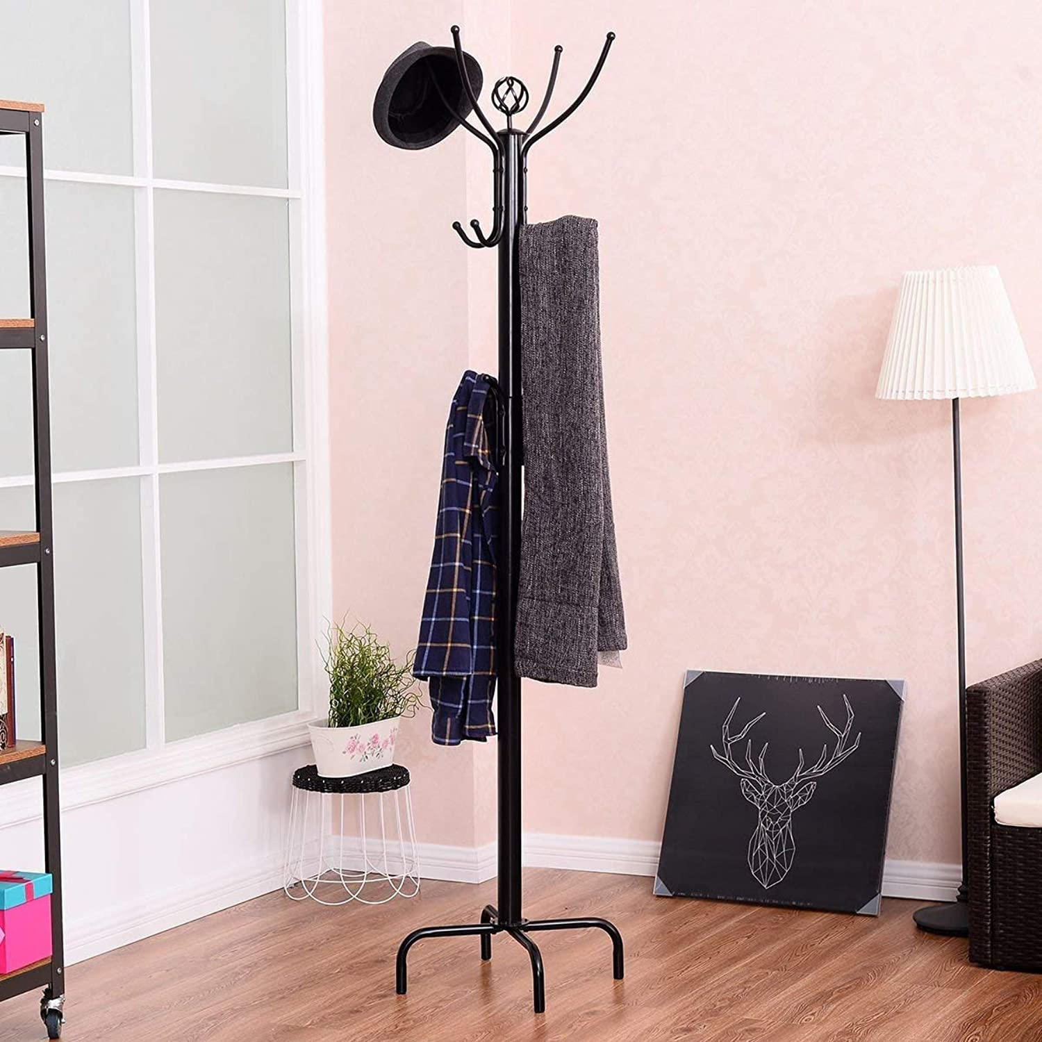 Tangkula Tree Stand Coat Rack Umbrella Holder Hanger Marble Base W 12 Hooks
