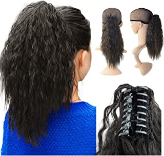 Beauty Angelbella 15'' Claw Ponytail Clip in Hair Extensions Long Yaki Curly Synthetic Hairpiece 80g with Jaw Clip (1b#)