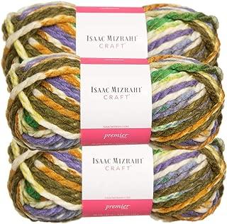 Premier Yarns (3 Pack Isaac Mizrahi Lexington Acrylic & Wool Soft Prospect Park White Green Blue Yarn for Knitting Crocheting #6 Super Bulky