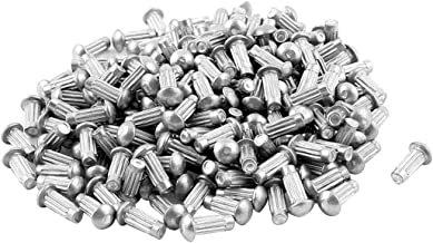 uxcell a15091700ux0635 Fastener 200 Pcs 1/8 inches x 5/16 inches Aluminium Round Head Solid Rivets Knurled Shanks