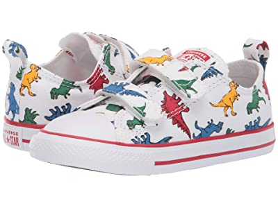 Converse Kids Chuck Taylor All Star 2V Ox (Infant/Toddler) (White/Enamel Red/Totally Blue) Boys Shoes