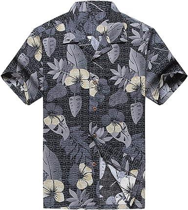 Hombres Aloha Camisa Hawaiana en Floral Blanco y Negro
