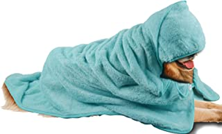 SINLAND Microfiber Oversized Hooded Bath Pet Towel for Dogs and Cats 100cm x 100cm