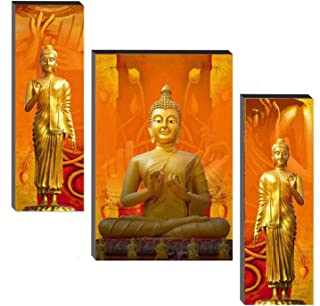 SND ART Set of 3 Buddha Home Decorative Gift Item Self Adeshive UV Textured MDF Framed Painting 12 Inch X 18 Inch Wall pai...