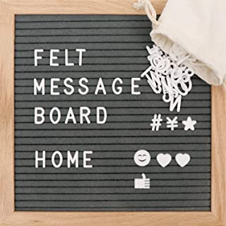 10X10in Changeable Felt Letter Message Board Include 340 White Plastic Letter + Oak Frame +Stand+Wall Mount+Tripod Use to Home Farmhouse School Classrooms Restaurants(Gray)