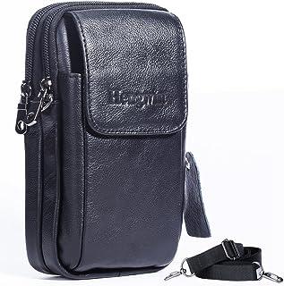 Hengwin Leather Vertical Men Cellphone Belt Loop Holster Case Belt Waist Bag Mini Travel Messager Pouch Crossbody Pack Pur...