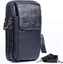 Hengwin Leather Vertical Men Cellphone Belt Loop Holster Case Belt Waist Bag Mini Travel Messager Pouch Crossbody Pack Purse Wallet with a Clip iPhone 8 Plus 7 Plus Note 8 S8 Edge Plus+Keychain-Black