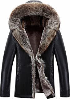 K3K Men's Winter Warm Shearling Sheepskin Leather Jacket Parka Luxury Raccoon Fur Collar Hooded Thicken Short Coat