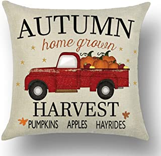 WePurchase Hand Painted Word Art Autumn Home Grown Harvest Pumpkins Apples Hayrides Quote Pickup Truck Cotton Linen Decorative Home Sofa Living Room Throw Pillow Case Cushion Cover Square 18x18 Inches