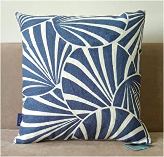 Aitliving Gagliano Cushion Pillow Cases Cotton Canvas Embroidered Art Deco Fans Abstract Geometric Circles Decorative Throw Pillow Cover Navy Ensign Blue 1pc 18