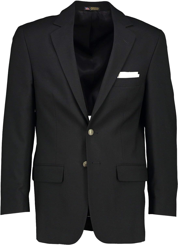 Hardwick USA Made Poly Wool Long and Portly Long Black Blazer