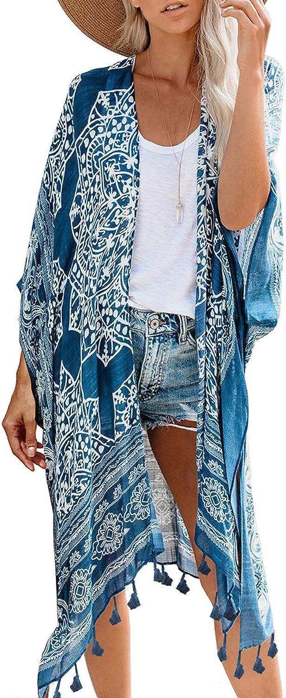 GOSOPIN Women Beach Print Kimono Casual Cardigan Loose Cover up