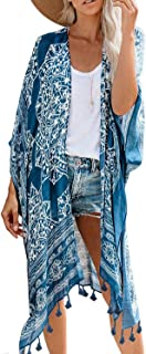 Best Womens Fashion Print Kimono Tassel Casual Cardigan Loose Cover up Review