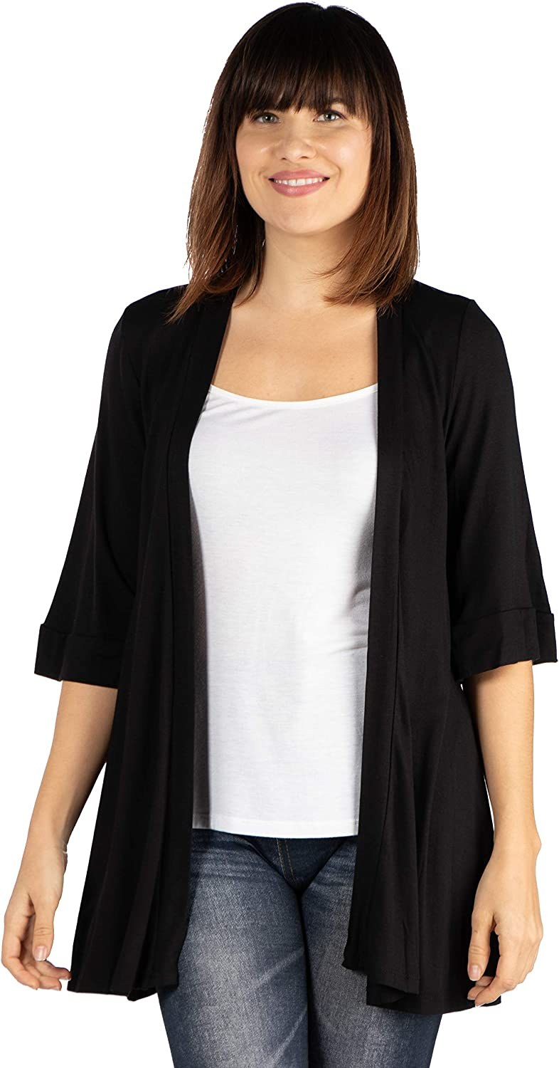24seven Comfort Apparel Women's 3/4 Sleeve Open Front Cardigan - Made in USA - (Sizes S-1XL) Machine Washable