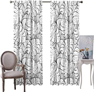 GUUVOR Black and White Room Darkened Curtain Geometrical Pattern with Overlapping Squares and Optical Illusion Effect Insulated Room Bedroom Darkened Curtains W72 x L96 Inch Black White