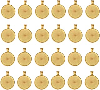 LANBEDIE 50 PCS Bezel Pendant Trays Round Cabochon Settings Pendant Blanks, 1-inch/ 25mm Diameter, Gold