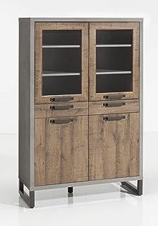 Meubletmoi - Vajilla de 4 puertas y 2 cajones de almacenamiento de madera marrón y gris – Diseño industrial Factory – Cole...