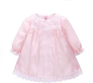 Xifamniy Newborn Girls Long Sleeve Autumn Skirt Pink Floral Lace Princess Dress
