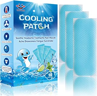 Cooling Patches, Cooling Patch for Baby Fever, Cool Pads, Cooling Relief Fever Reducer, Soothe Headache Toothache Pain Muscle Ache Drowsiness Fatigue Sunstroke, Pack of 10