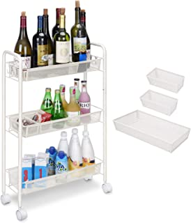 3 Tier Metal Utility Cart, Slim Rolling Trolley with 4 Hooks and 3 Mesh Trays, Storage Cart with Brake Wheels for Office, ...