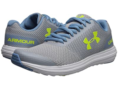 Under Armour Kids UA GGS Surge Running (Big Kid) (Mod Gray/Boho Blue/High-Vis Yellow) Girls Shoes