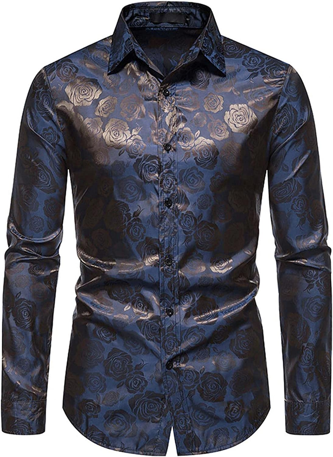 FUNEY Mens Button Down Long Sleeve Shirts Slim Fit Floral Rose Printed Design Shirts Prom Wedding Party Business Dress Shirt