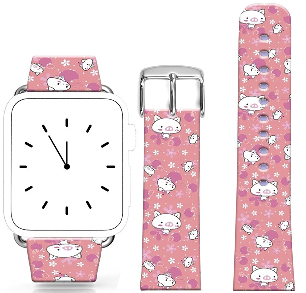 Band for Iwatch 38mm Series 1/2/3 / Topgraph Compatible Replacement Leather Strap for Apple Watch Kawaii Little White Pigs and Flowers (with Metal Clasp Together)