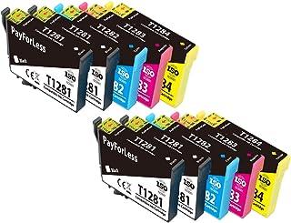 PayForLess T1285 Cartuchos de Tinta para Epson T1281 T1282 T1283 T1284 Compatible con Epson Stylus SX125 SX130 SX230 SX235W SX420W SX440W SX445W BX305F BX305FW (4 Negro,2 Cian,2 Magenta,2 Amarillo)