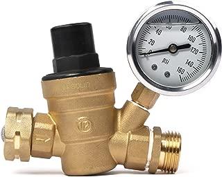 Water Regulator Valve- Lead Free Brass Adjustable RV Pressure Regulator with Pressure Gauge and Water Filter Net by U.S. Solid