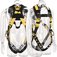 WELKFORDER 3D-Rings Industrial Fall Protection Safety Harness With Leg Tongue Buckles | Shoulder Pad Support ANSI Complian...