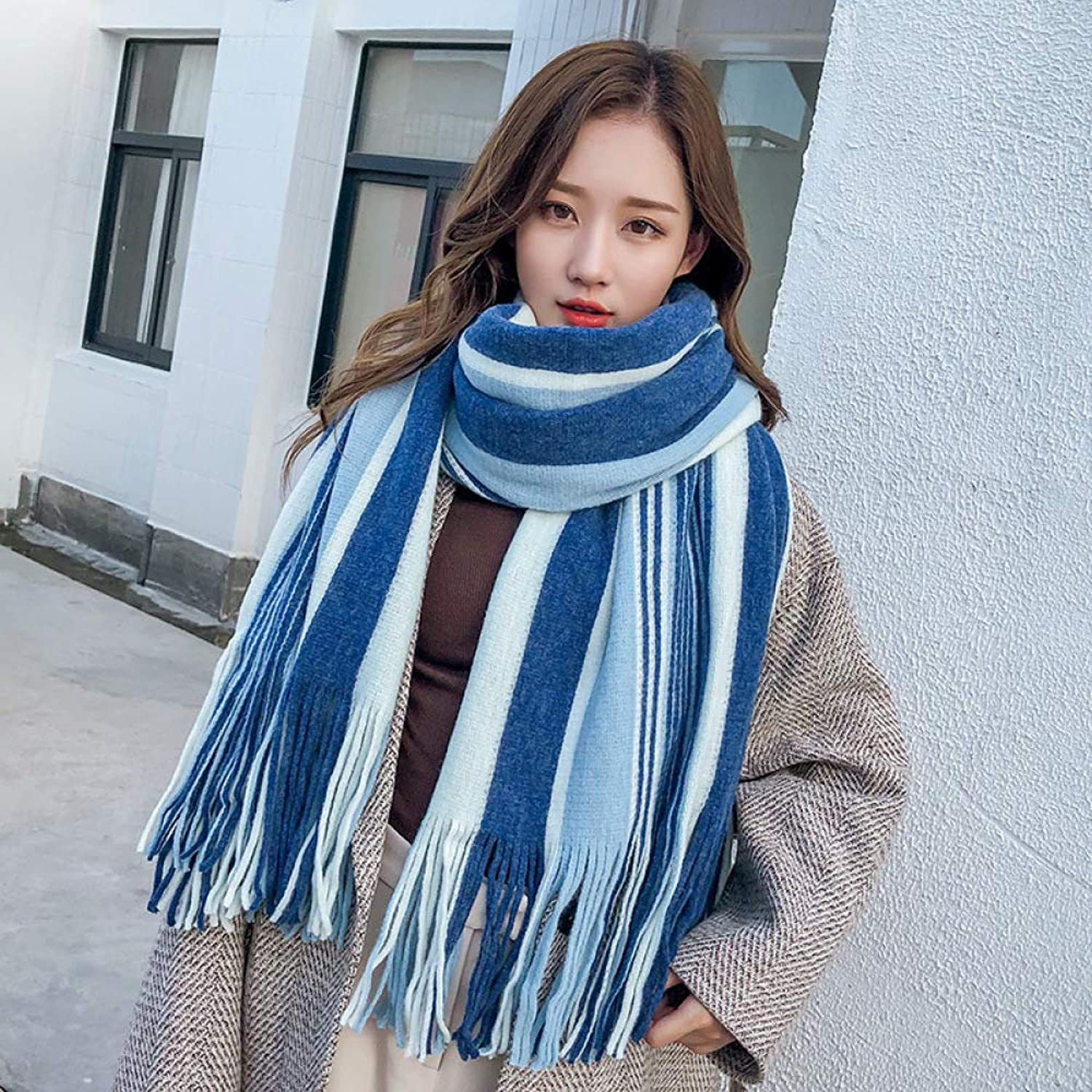 Striped Scarf Autumn and Winter Women's Thick Shawl Wild Long Students Keep Warm,bluee200  55