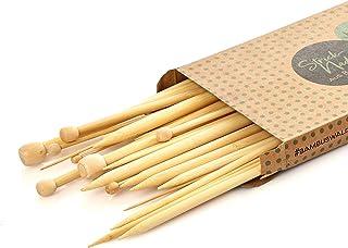 bambuswald© Aiguilles à Tricoter | 18 Paires Aiguilles a Tricot en Bambou Ecologique (Différentes Tailles de 2 à 10 mm) | ...