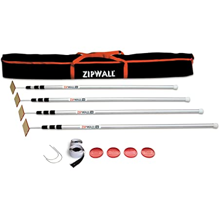 ZIPWALL SLP4 12 Foot Spring Barrier (Pack of 4) Loaded Poles for Dust Barriers, 4 Pack, Silver