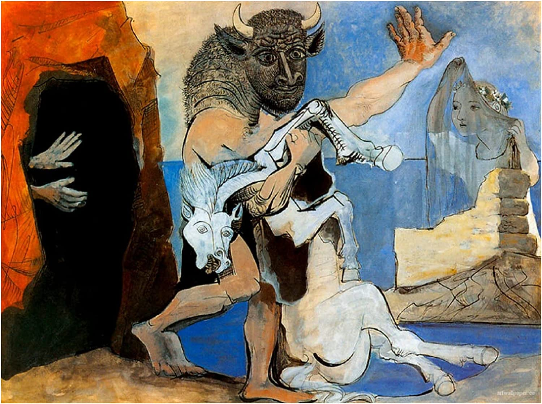 ZNNHEROPóster De Pablo Picasso Minotauro Y Caballo Muerto, Arte De Pared, Pintura En Lienzo, Imagen para Sala De Estar, Dormitorio, Decoración-60X80Cmx1 Sin Marco