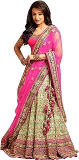 7aa7b45200 Hir Fashion Women's Benglori Silk Embroidered Bridal Lehenga Choli (Pink,  Free Size)