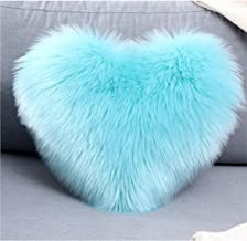 Sleep Allure Sea Foam Blue Heart Shaped 16 x19 inch Plush Polyester Decorative Throw Heart Pillow for Bedroom and Kid's Room(Blue)