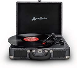 Byron Statics Vinyl Records Bluetooth 5.0 Turntables Record Player Vintage Lightweight Suitcase Speaker Autostop Stable Connection Compatible Hi-Fidelity Phonograph Dust Cover Anti-Resonance Dark Gray