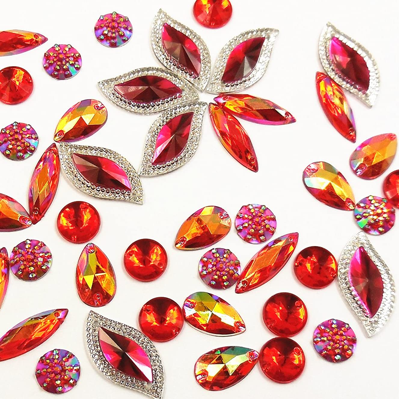 80 Pieces Glitter Red AB Faceted Gems Acrylic Sew On Rhinestones Flatback Crystal for Clothing Dress Decorations